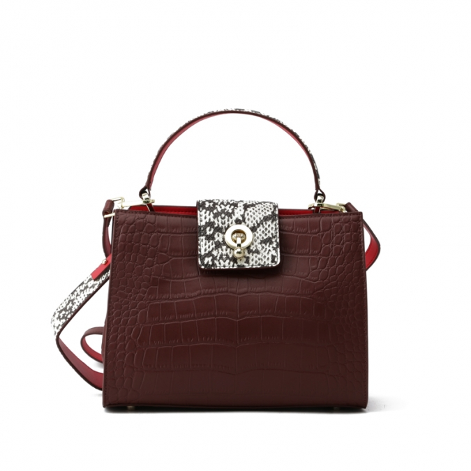 Wine Red Leather Handbag for Women