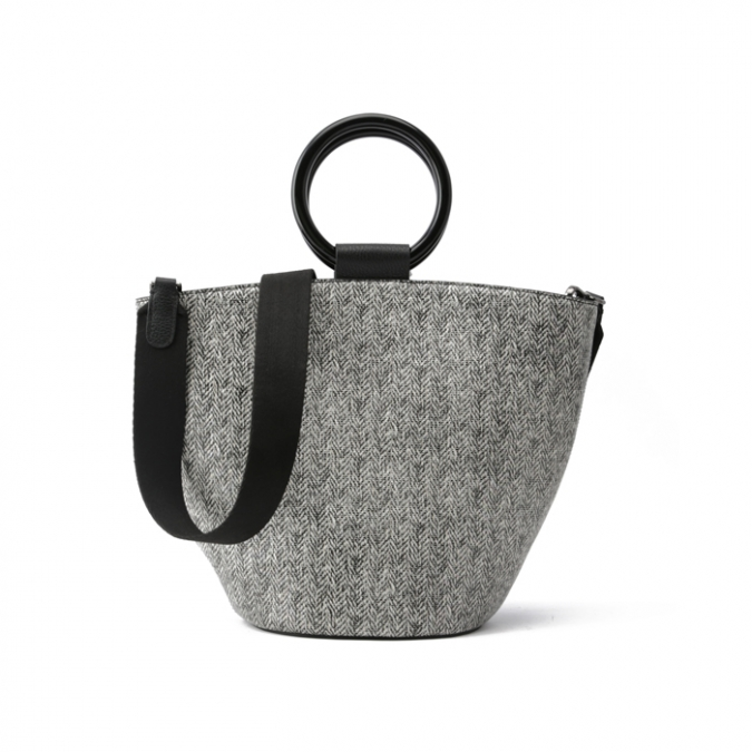 Grey Genuine Leather Tote Bags
