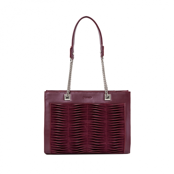 Wine Red Leather Shoulder Bags